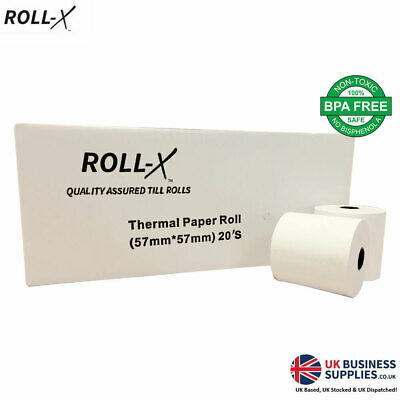 20 - 57x57mm Roll-X Thermal Cash Register Till Rolls Chip & Pin PDQ 57mmx57mm