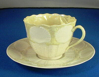 Belleek New Shell Yellow Cup & Saucer 4th mark 1st Green 1946-55