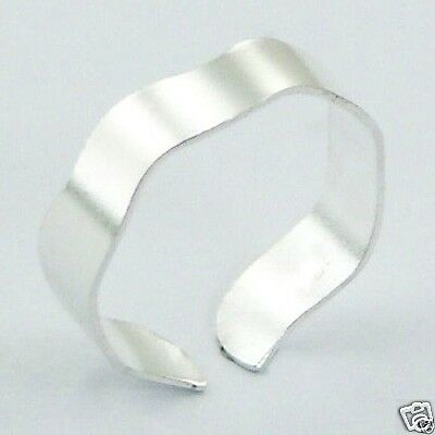 Adjustable Wavy Toe Ring Polished Sterling Silver 925 Beach Jewelry Gift