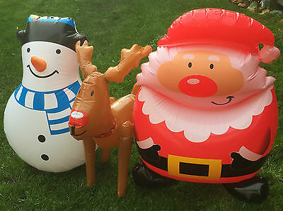 Novelty Inflatable Snowman/santa Claus Blow Up Christmas Xmas Decorations Toy