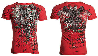 Archaic AFFLICTION Mens T-Shirt QUILTED Skulls Tattoo Biker MMA UFC M-4XL $40 b