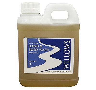 Liquid Castile Soap Hand & Body Wash Blend Unscented 100% Nat. 1 L Incl P&h