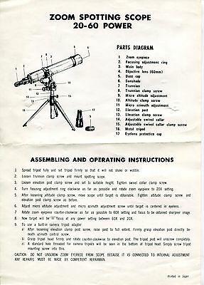 "Vintage Telescope Operating Instructions: ""ZOOM SPOTTING SCOPE"""