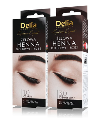Delia Pro Color New Henna Gel For Eyebrows And Lashes Black  Dark Brown