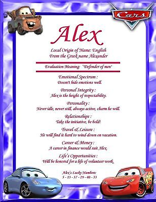 Disney Cars Personalized First Name Meaning Wall Print1