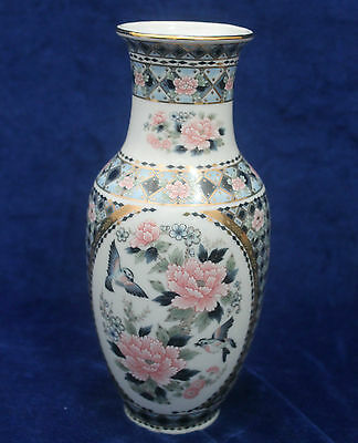 Vintage Chinese Floral Vase in Lilac & White c.1960