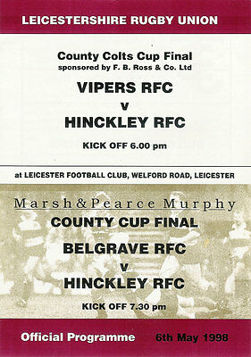 Belgrave & VIPERS v Hinckley 1998 RUGBY PROGRAMME - Leicestershire Cup Finals