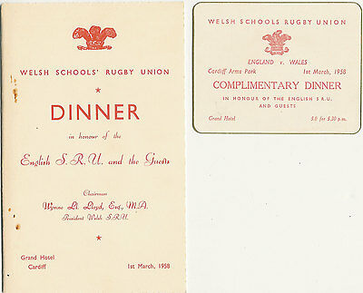 WALES v ENGLAND 1 Mar 1958 SCHOOLS UNDER 16s RUGBY DINNER MENU CARD & INVITATION