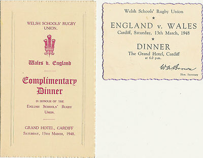 WALES v ENGLAND 13 Mar 1948 SCHOOLS UNDER 16 RUGBY DINNER MENU CARD & INVITATION