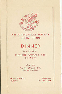 WALES v ENGLAND 15 Apr 1961 SCHOOLS UNDER 19s RUGBY DINNER MENU CARD
