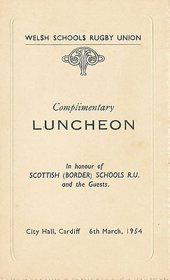 WALES v SOUTH of SCOTLAND 6 Mar 1954 SCHOOLS UNDER 16s RUGBY DINNER MENU CARD