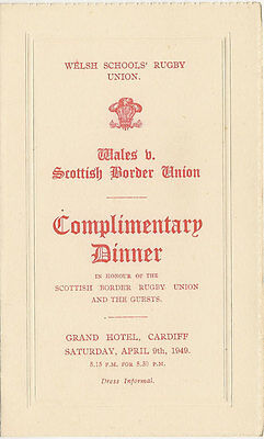 WALES v SOUTH SCOTLAND 9 Apr 1949 SCHOOLS UNDER 16s RUGBY MENU CARD - 1st MATCH