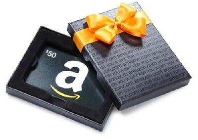 $50 Amazon Gift Card with a nice Box, Never Expires! Ultra-Fast 1-day Shipping!