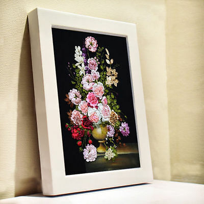 Elegant Multicolour Peony Flower 3D Ribbon Embroidery Kit For Sitting Room Gifts