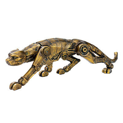 Heart of the Wild Victorian Steampunk Industrial Style Panther Statue Sculpture