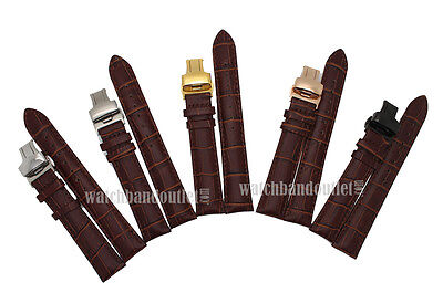 Brown Genuine Leather Watch Band+Push Button Butterfly Deployant Clasp Buckle