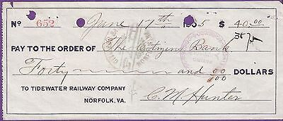 TO TIDEWATER RAILWAY COMPANY NORFOLK VA CHEQUE # 13