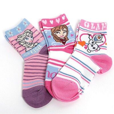 Authentic Disney's FROZEN Anna, Elsa & Olaf Socks Girls Kids Toddlers Pink Gift