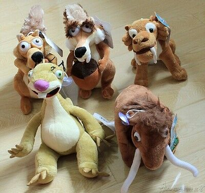 5PCS/Set Sid Scrat Manny Diega Squirrel Sloth Disney Plush Dolls Ice Age Toys D3