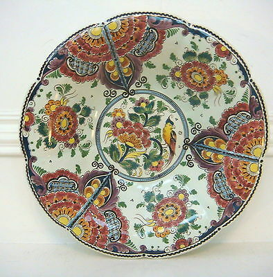 """Delft Velsen Polychrome Footed Bowl - 13 3/4"""" Diameter - Wallhanging or Use"""