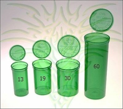 GREEN Pop Top Squeeze Open Prescription Bottle Rx Dram Medical Containers USA