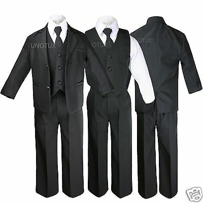 5pc Baby Infant Toddler Kid Teen Boy Wedding Formal Black Tuxedo Suit Size S-20