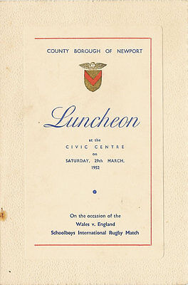 WALES v ENGLAND 29 Mar 1952 SCHOOLS UNDER 16s RUGBY DINNER MENU CARD