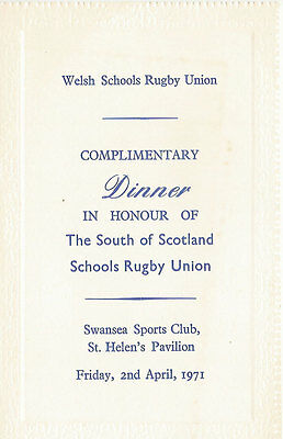 WALES v SOUTH of SCOTLAND 2 Apr 1971 SCHOOLS UNDER 16s RUGBY DINNER MENU CARD