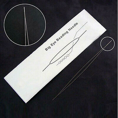 3 x Flexible Big Eye Beading Needles 5 Inches Long (125mm x 0.6mm)
