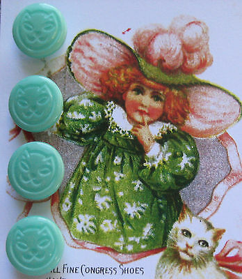 "Set of 4 ~ Vintage 1/2"" Blue Jade Green Kitty Cat Glass Buttons~old stock 1920's"