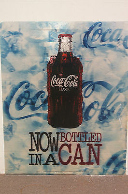 """Unique Large """"Now Bottled In A Can"""" Image Changing Coca-Cola Sign Advertisement"""