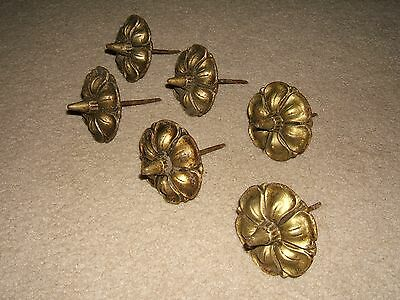 Vintage Metal Brass Drawer Cabinet Door Pulls~Knobs~Hooks-Lot Of 6~Floral