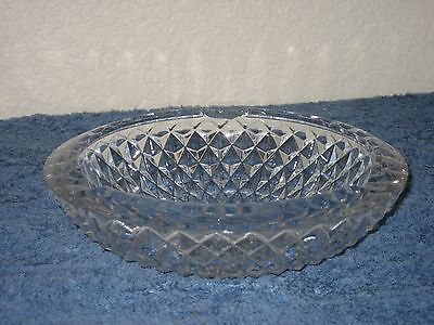 Vintage Heavy Glass Crystal Clear Round Candy Nut Bowl Dish Diamond Embossed