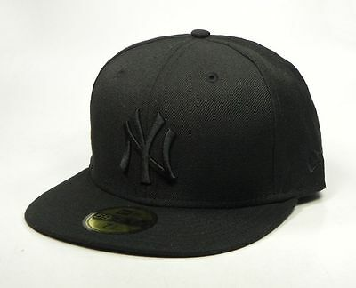 NEW ERA Hat 59Fifty Fitted MLB Baseball Wool Cap New York Yankees Black on Black