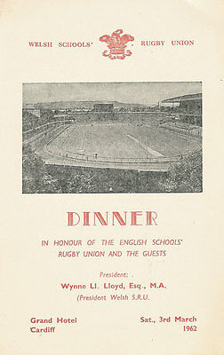 WALES v ENGLAND 3 Mar 1962 SCHOOLS UNDER 16s RUGBY DINNER MENU CARD