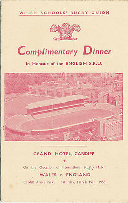 WALES v ENGLAND SCHOOLS 19 Mar 1955 UNDER 16s RUGBY DINNER MENU CARD