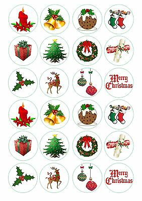 24 Christmas Wafer / Rice Paper Cupcake Topper Edible Fairy Cake Bun Toppers