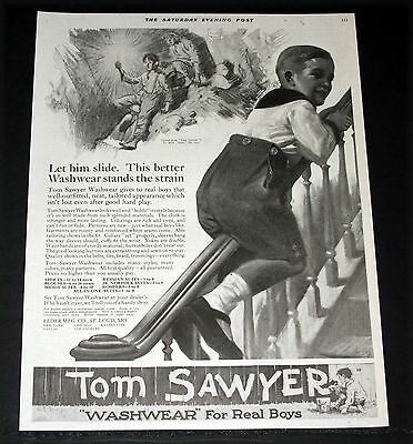 1919 Old Magazine Print Ad, Tom Sawyer Boys Washwear Clothes, Let Him Slide Art!