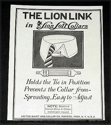 1919 Old Magazine Print Ad, Lion Link Soft Collars, Holds The Tie In Position!