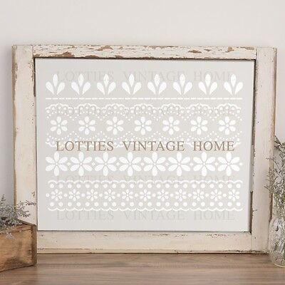 ❤️ A4 Stencil Lace Flower Borders Furniture Shabby Chic French Vintage 190 MYLAR