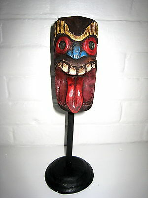Antique Style Tiki Face Wooden Ornament On Stand Tattoo Rockabilly Gift New