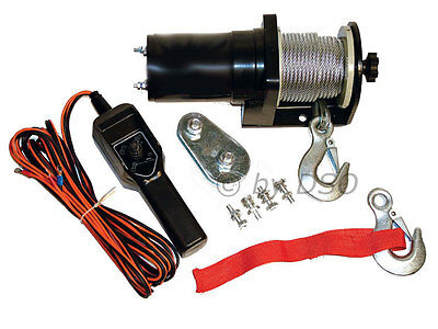 Am-Tech 12V Reversible Electrical Pulling Lifting Winch 2000 LBS
