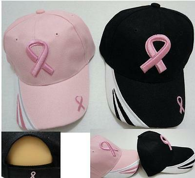 NEW PINK or BLACK Breast Cancer Awareness Baseball Cap Hat w/ Embroidered Ribbon