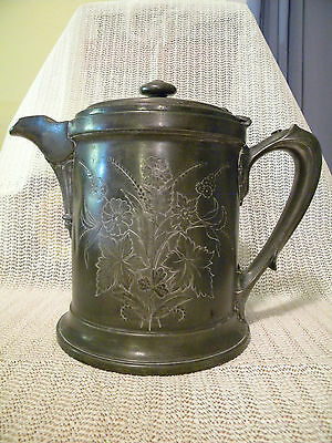 Antique double walled pewter pitcher, Meriden 1868
