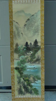 EARLY 20c CHINESE WATERCOLOR ON SILK SCROLL PAINTING OF LANDSCAPE SCENE ,SIGNED