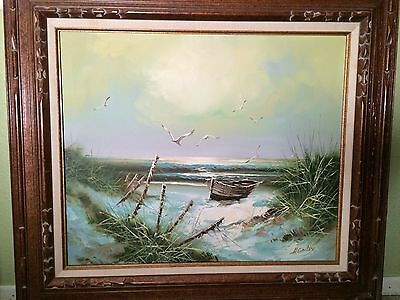 "H. GAILEY OIL PAINTING ON CANVAS FRAMED ORIGINAL 28"" X 32"" Boat Row Sea Ocean"