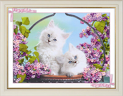 Romantic Sweet Cute White Cat Flower Basket 3D Ribbon Embroidery Kit 50*65cm New