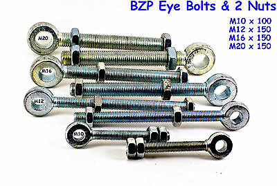 BZP Eye Bolts Qty 2 Includes BZP Nuts - M10 M12 M16 M20  Gate Band & Hook Hinges