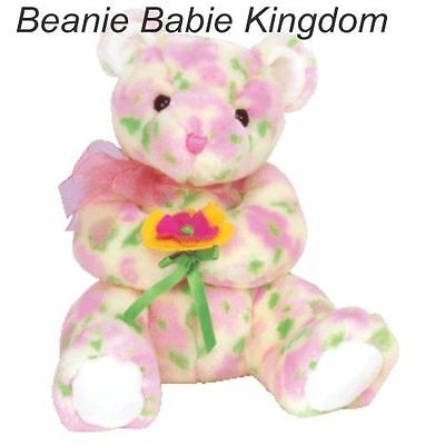 "Ty  Beanie Buddy * BLOOM * The Coloured Buddie Bear Holding a Flower 9""  09719"