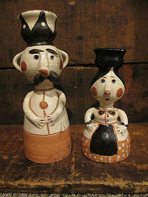 AWESOME Folk Art Pottery Candle Holders Figural Man Woman Mustache Nose
